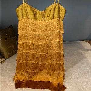 Zac Posen Gold Silk Fringe Dress (10 but runs 8)